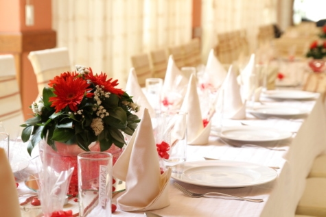 blagovaonica, naselje, soba, vjenčanje, buket, cvijeće, dekoracija, aranžman, tabla, proslava