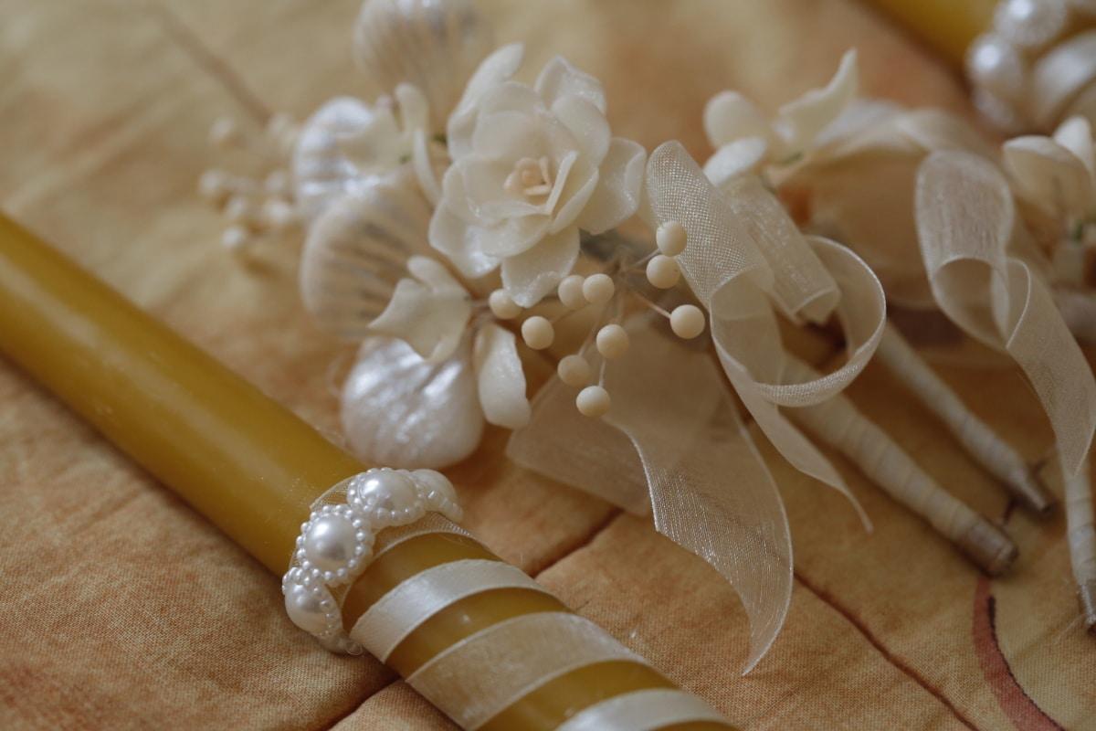 candle, ceremony, cotton, decoration, ribbon, romantic, wedding, celebration, bouquet, flower