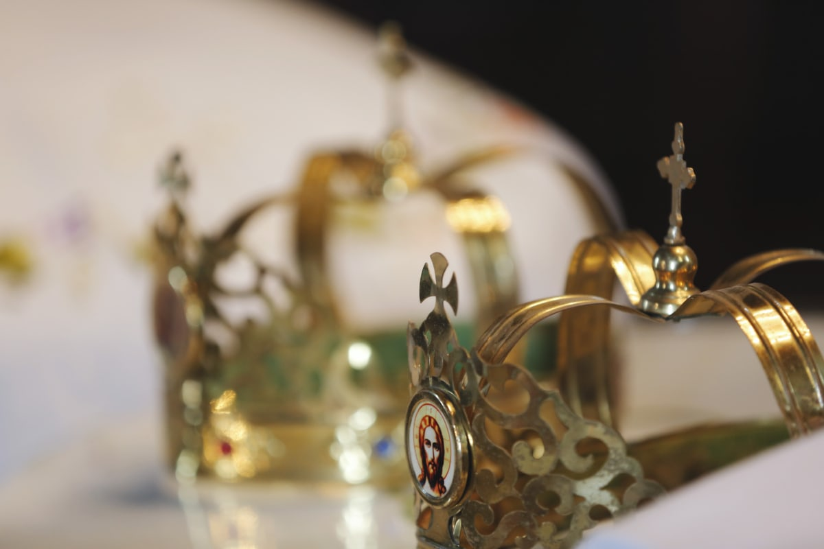christianity, crown, gold, metal, orthodox, luxury, shining, jewelry, wedding, still life
