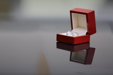 box, red, reflection, rings, wedding, wedding ring, still life, art, love, jewelry
