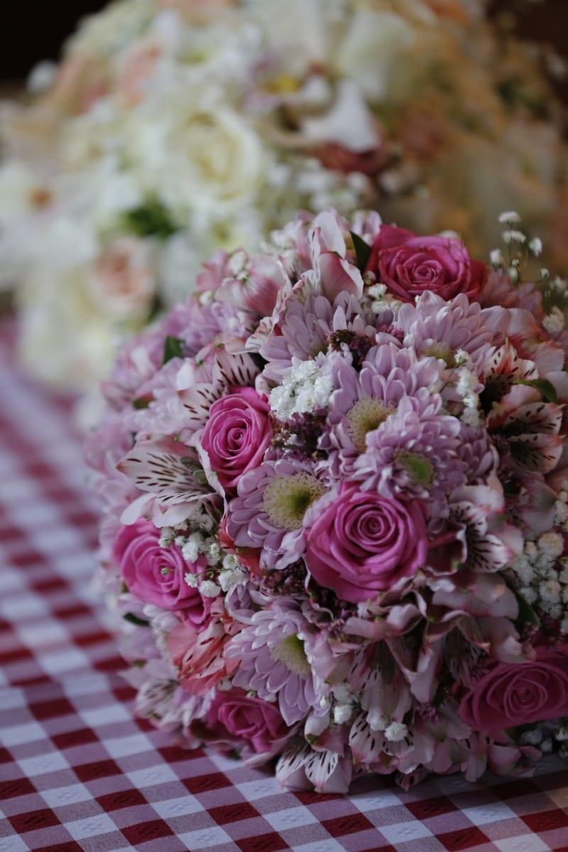 핑크, 장미, 식탁보, 꽃, 부케, 장식, 배열, 꽃, 장미, 웨딩