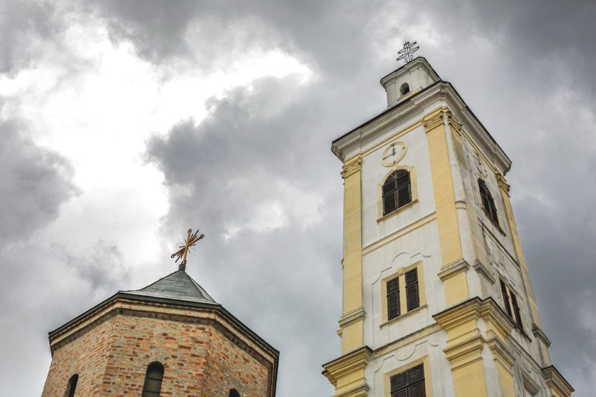 analoge klok, hoek, slecht weer, kerktoren, wolken, perspectief, Kathedraal, kerk, klok, klooster