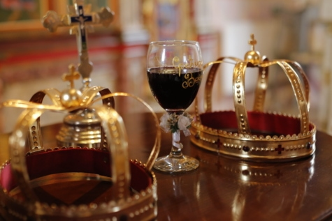 ceremony, church, cross, crown, event, orthodox, red wine, wedding, party, drink