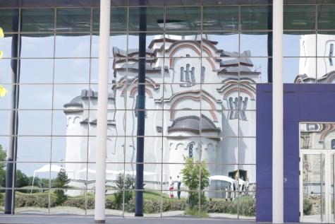 kirke, kirketårnet, glas, moderne, refleksion, bygning, vindue, arkitektur, forretning, city