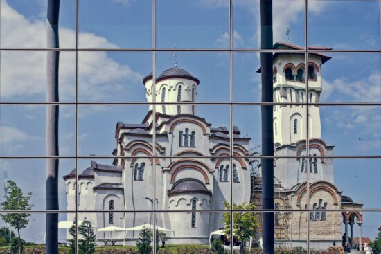 cathedral, church tower, facade, reflection, windows, architecture, building, old, tower, city