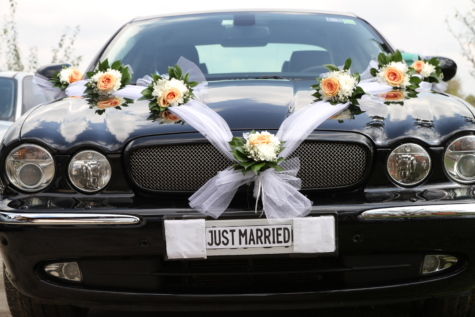 decoration, sedan, wedding, windshield, classic, chrome, grille, automobile, vehicle, hood