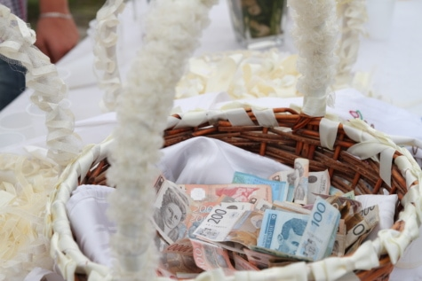 banknote, ceremony, event, money, tradition, wedding, wicker basket, traditional, love, celebration