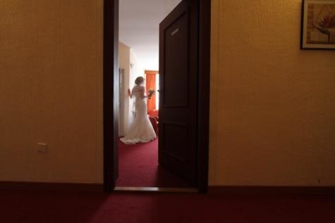 porta, porta da frente, Hotel, garota bonita, quarto, casamento, móveis, interior, quarto, luz