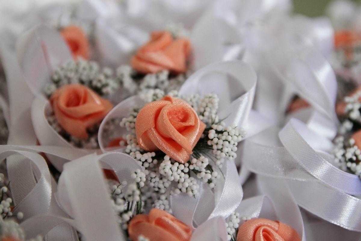 dekorative, håndlaget, Orange gule, båndet, ordningen, dekorasjon, bukett, bryllup, steg, roser