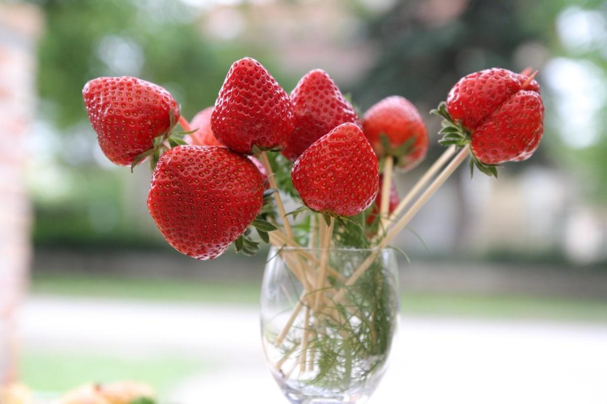 jordbær, sød, sundhed, lækker, natur, frugt, blad, sommer, mad, udendørs