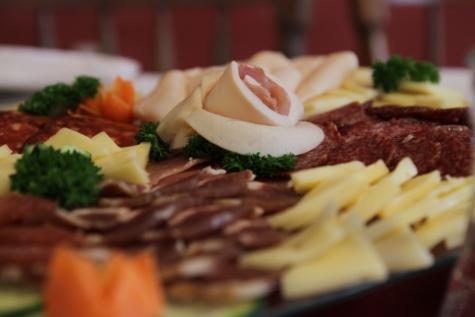 sýr, jídelní kout, obloha, jídelny, salám, klobása, oběd, vynikající, předkrm, večeře