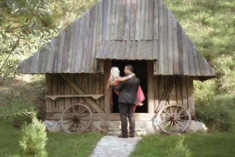 bruid, bungalow, bruidegom, nostalgie, romantische, platteland, dorp, schuur, hout, mensen