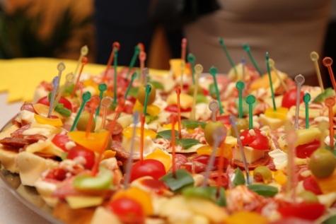 bankett, färgglada, kost, matplats, middag, lunchrummet, Olive, salami, korv, pinnar