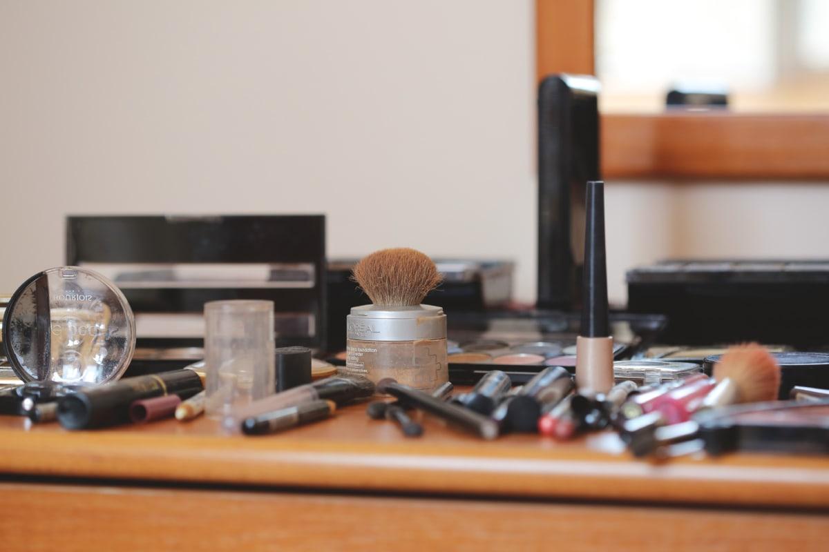 brushes, cosmetics, hand tool, makeup, professional, still life, indoors, mirror, furniture, desk
