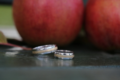 apple, apples, close-up, gold, golden glow, love, metal, object, rings, romantic
