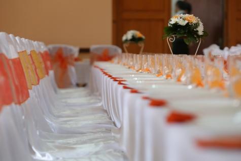 banquet, ceremony, decoration, dining area, furniture, glasses, glassware, interior decoration, lunchroom, wedding