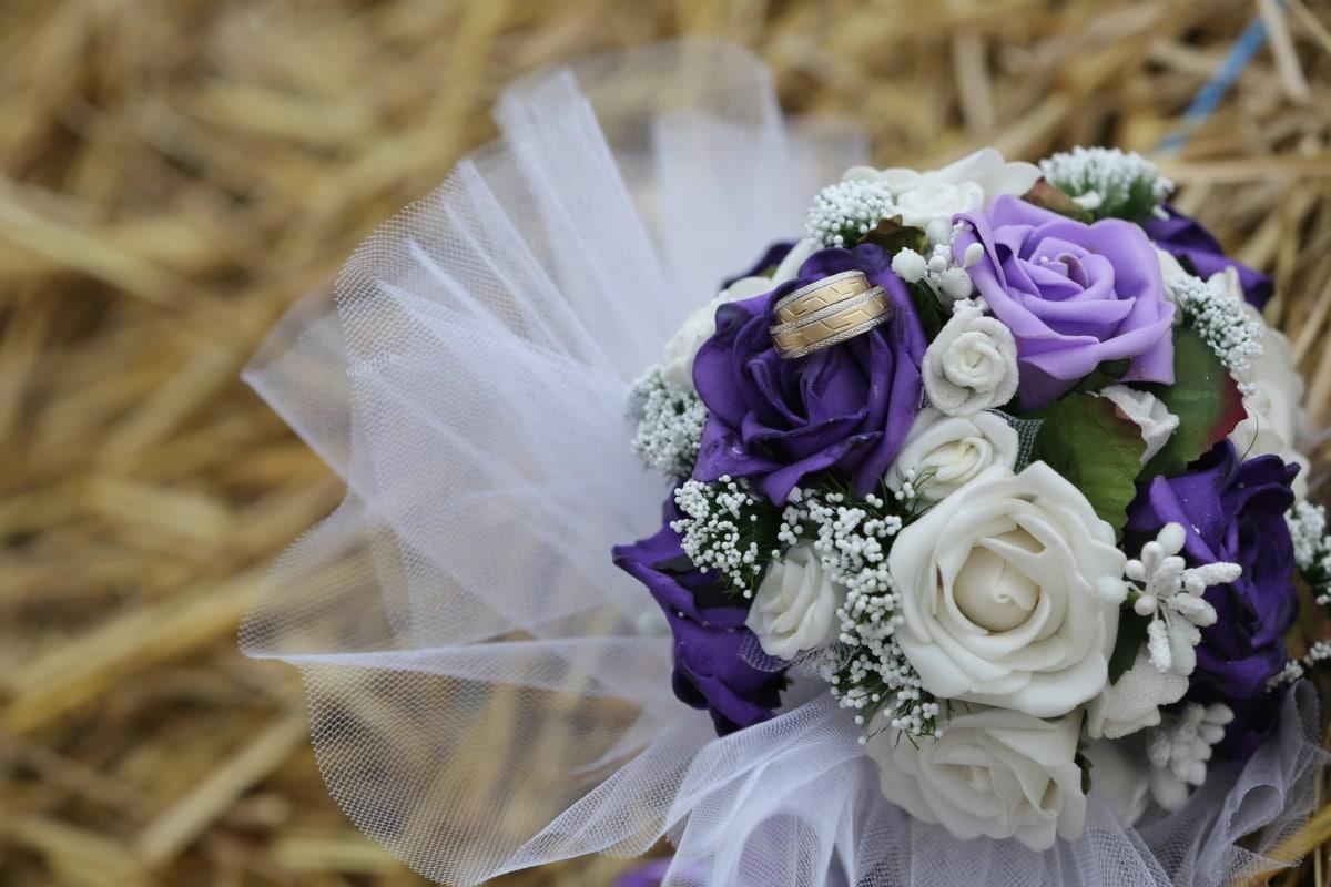 csokor, széna, romantikus, Szalma, esküvő, Karikagyűrű, elrendezése, házasság, romantika, dekoráció