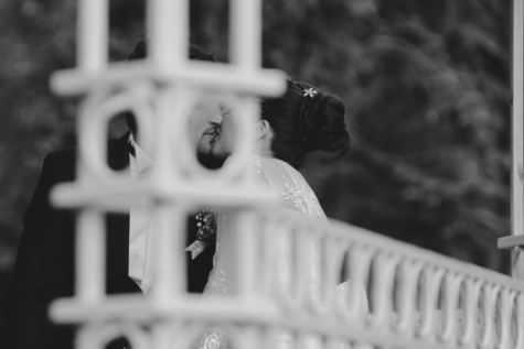 black and white, bride, dress, hug, kiss, love, marriage, monochrome, pretty girl, romantic