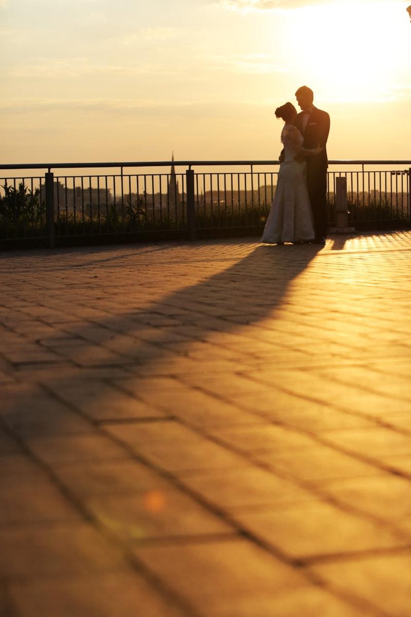 красив, прегръща, Любов, хубаво момиче, заедност, вода, Момиче, залез, сватба, слънце