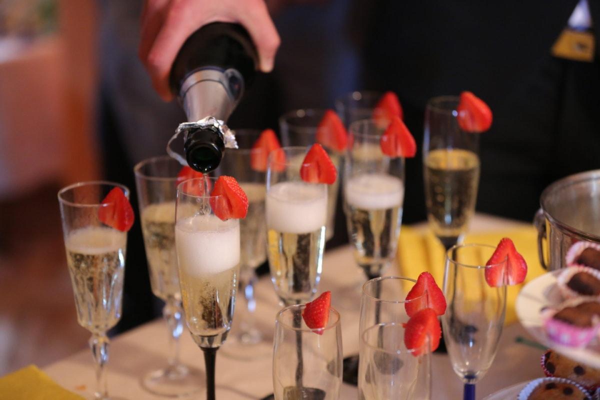 Jahrestag, Flasche, Feier, Zeremonie, Champagner, Kristall, Brille, Restaurant, Toast, Weißwein