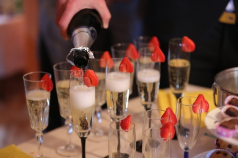 anniversaire, bouteille, célébration, cérémonie, Champagne, Crystal, lunettes, restaurant, pain grillé, vin blanc