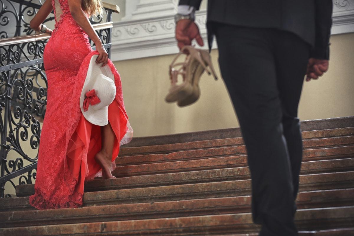 zakenman, zakenvrouw, jurk, elegantie, mode, knappe, hoed, hakken, mooi meisje, trap