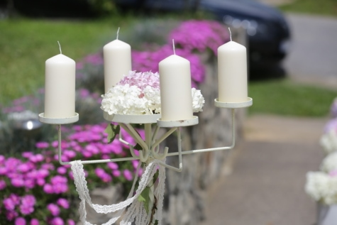 candle, candlestick, ceremony, decoration, flower garden, romantic, white, candles, aromatherapy, outdoor