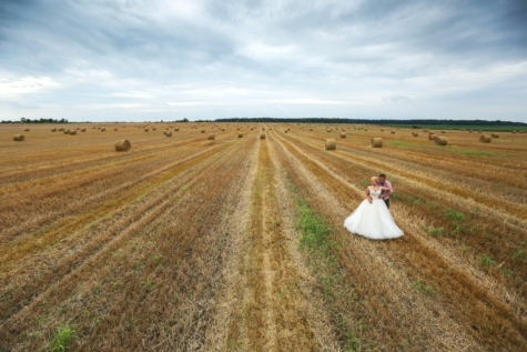 agriculture, bride, dress, hay, hay field, man, romantic, wedding, rural, countryside