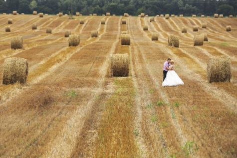 농업, 건초 밭, 포옹, 키스, 놀, 사랑, 로맨틱, 베일, 시골, 풍경