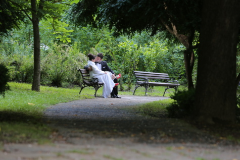 bench, bride, coupe, dress, groom, love, park, romance, suit, wedding