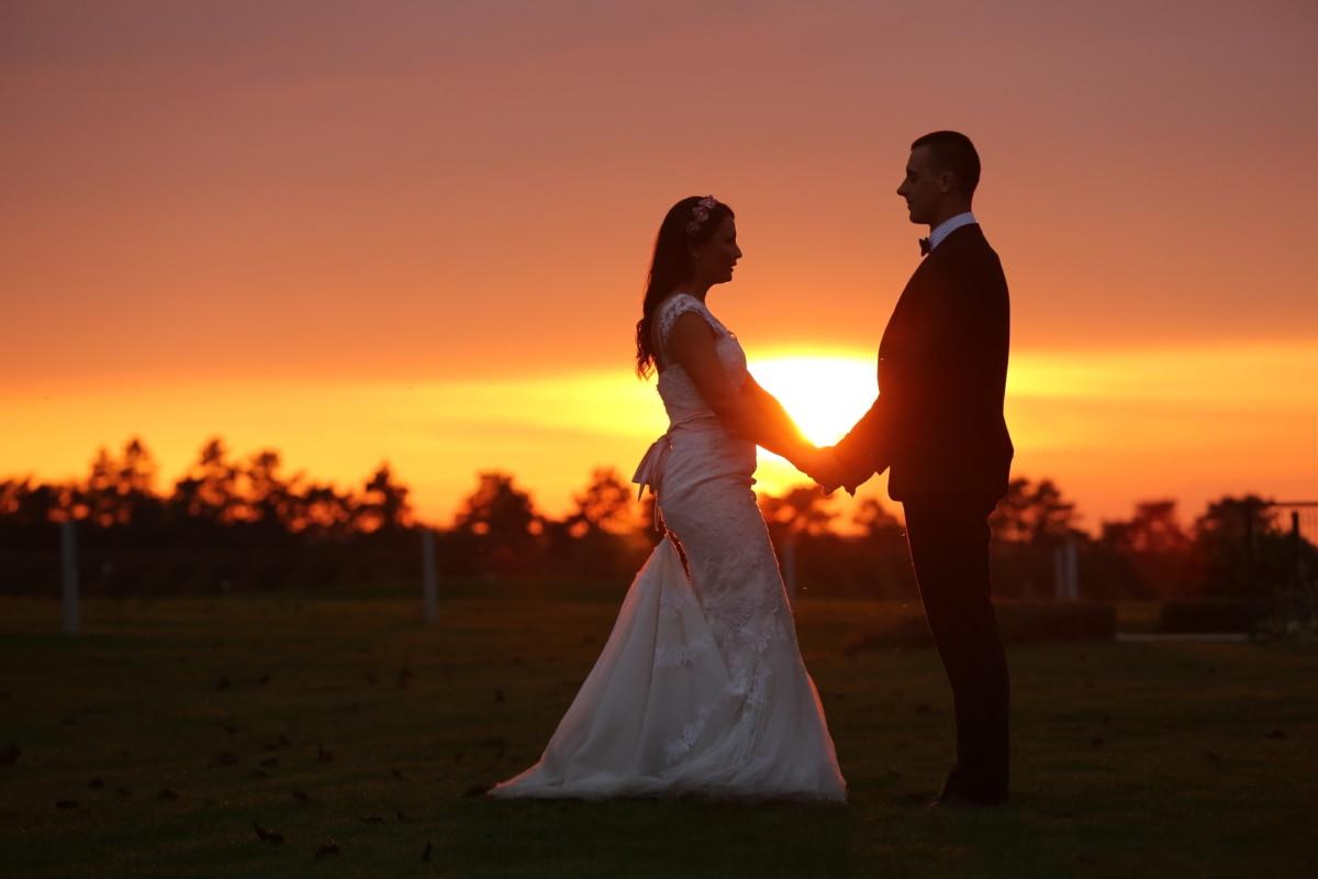 新郎, サンセット, ドレス, ロマンス, 花嫁, 結婚式, 夜明け, 愛, 夕暮れ, シルエット