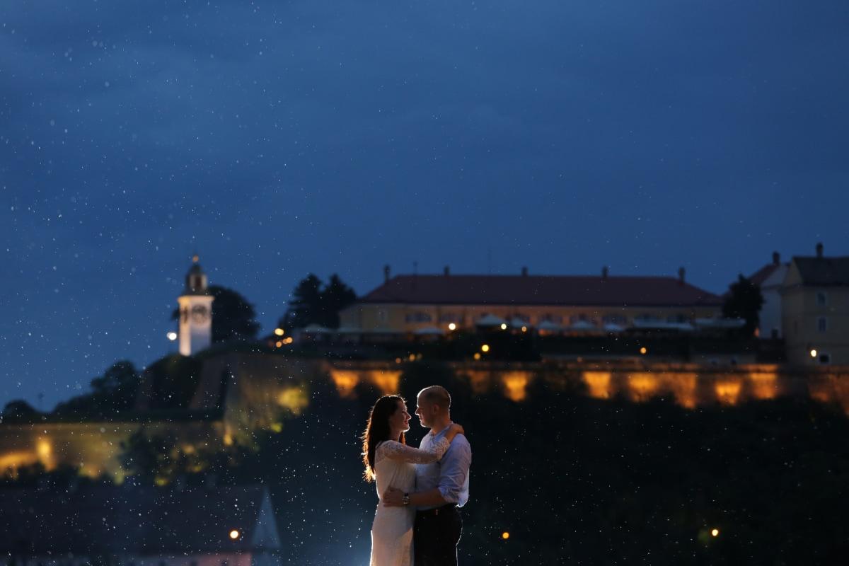 bruden, bybilledet, smuk, hugging, glæde, vartegn, lys, Kærlighed, mand, måneskin