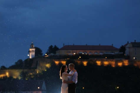 bride, cityscape, handsome, hugging, joy, landmark, light, love, man, moonlight