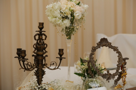 bouquet, candlestick, luxury, mirror, romantic, silk, tablecloth, vase, flowers, flower