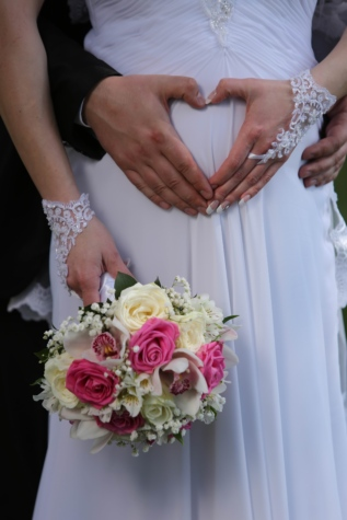 bouquet, bride, hands, happiness, heart, husband, love, pregnancy, pregnant, wife