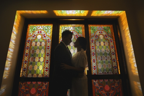 bride, fine arts, hug, hugging, illumination, marriage, pretty girl, stained glass, groom, religion