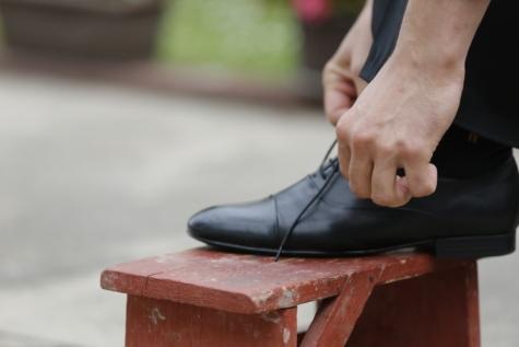 mote, møbler, hender, skinn, fritid, livsstil, gammel stil, utendørs, shoelace, sko