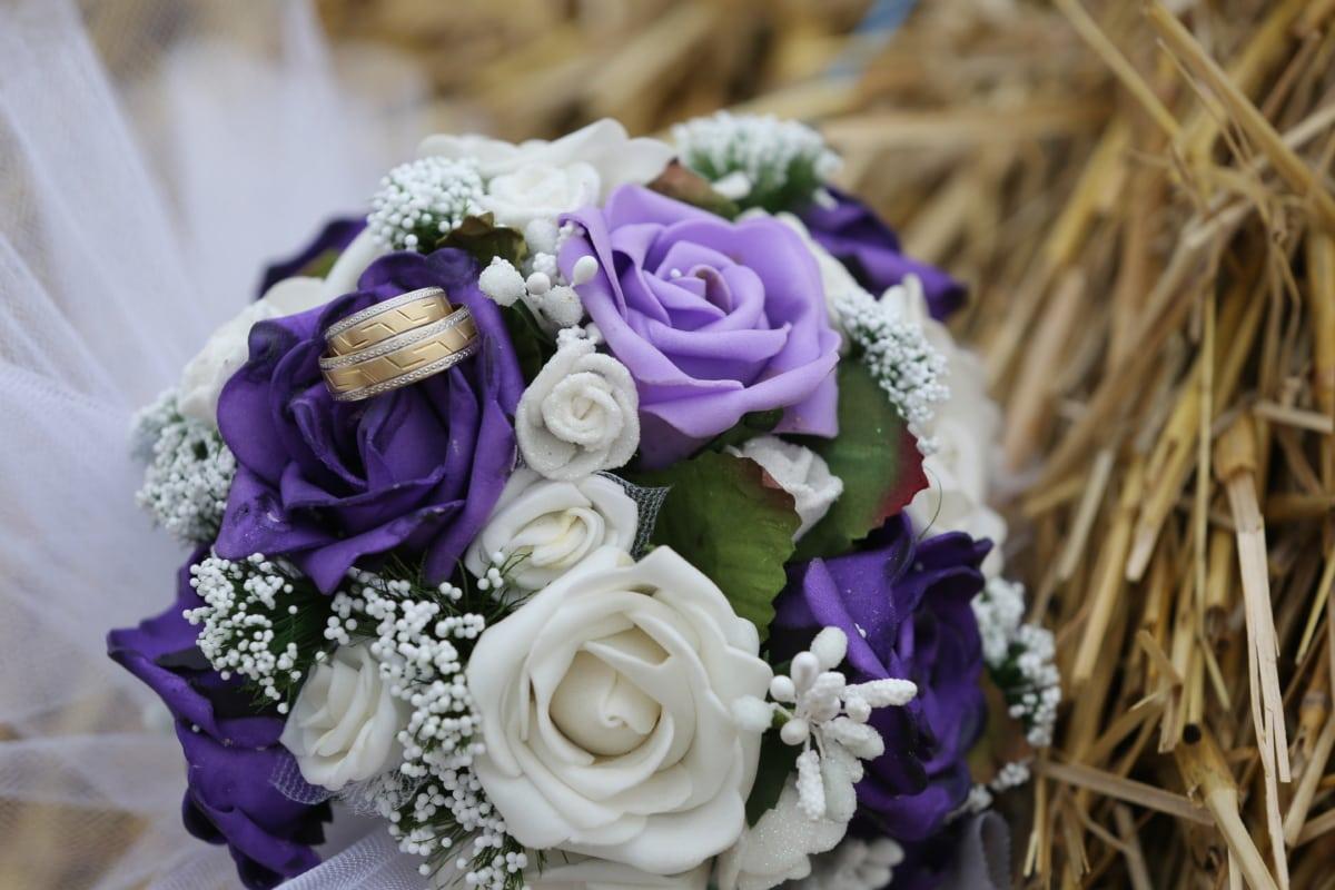 わら, ウェディングブーケ, 結婚指輪, 花束, 配置, 愛, 花嫁, 花, ロマンス, 婚約