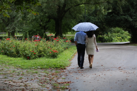 bride, man, park, rain, walking, wedding bouquet, wedding dress, people, umbrella, girl
