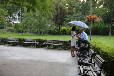 bench, communication, couple, garden, joy, pretty girl, rain, umbrella, urban area, wedding dress