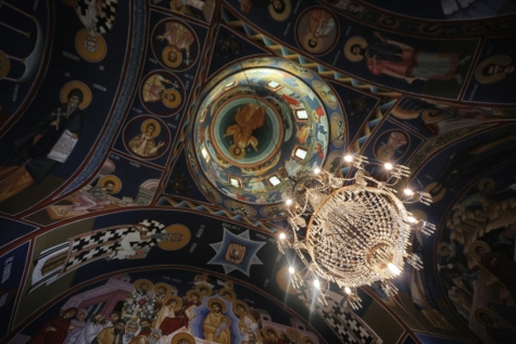 ceiling, chandelier, church, fine arts, monastery, orthodox, religion, art, cathedral, painting
