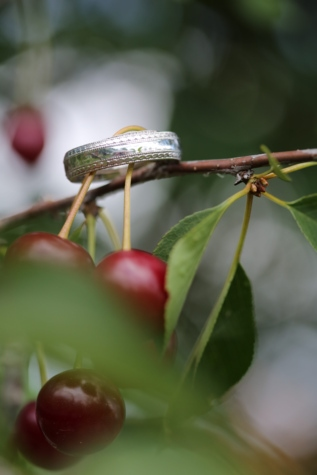 branches, cerises, métalliques, romantique, mariage, bague de mariage, arbre, nature, fruits, plante