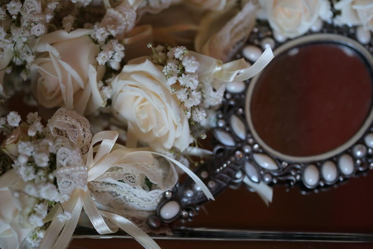 baroque, mirror, ribbon, roses, wedding, white flower, bouquet, flower, love, marriage