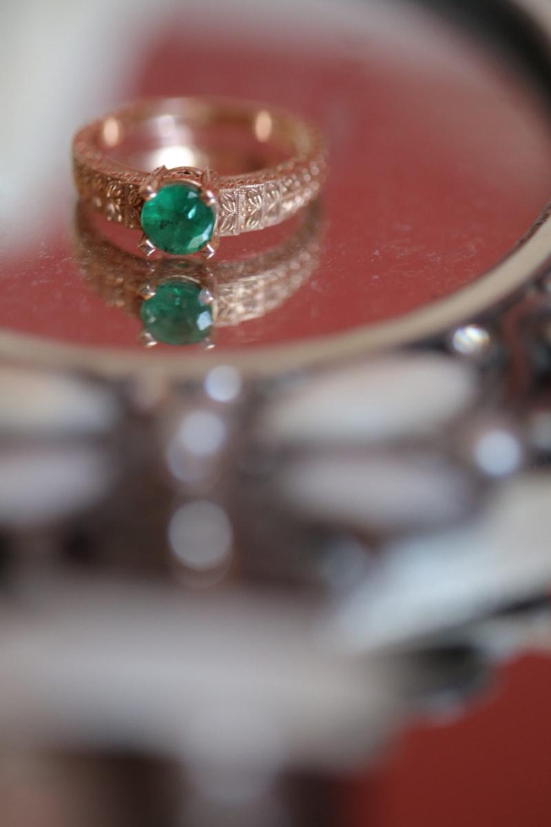 close-up, diamond, golden glow, jewel, mirror, reflection, ring, treasure, wedding, luxury