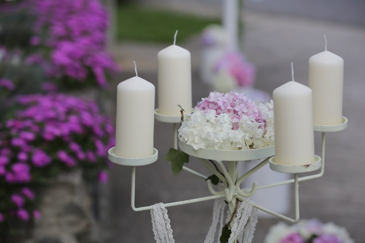candles, cast iron, ceremony, flowers, object, candlestick, candle, flower, wedding, candlelight