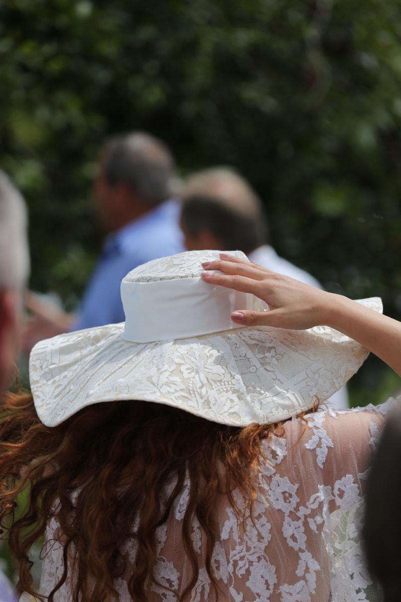 fashion, glamour, hand, hat, holding, wedding, wedding dress, outdoors, lifestyle, happy