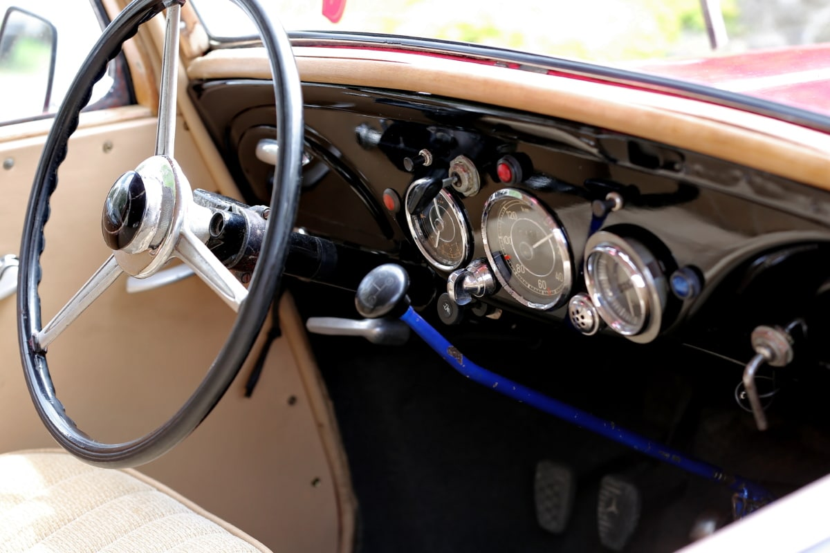 car, gauge, gearshift, interior, oldtimer, speedometer, steering wheel, windshield, mechanism, control