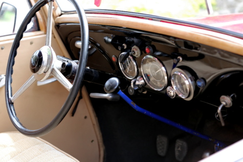 car, gauge, gearshift, interior, oldtimer, speedometer, steering wheel, windshield, mechanism, control