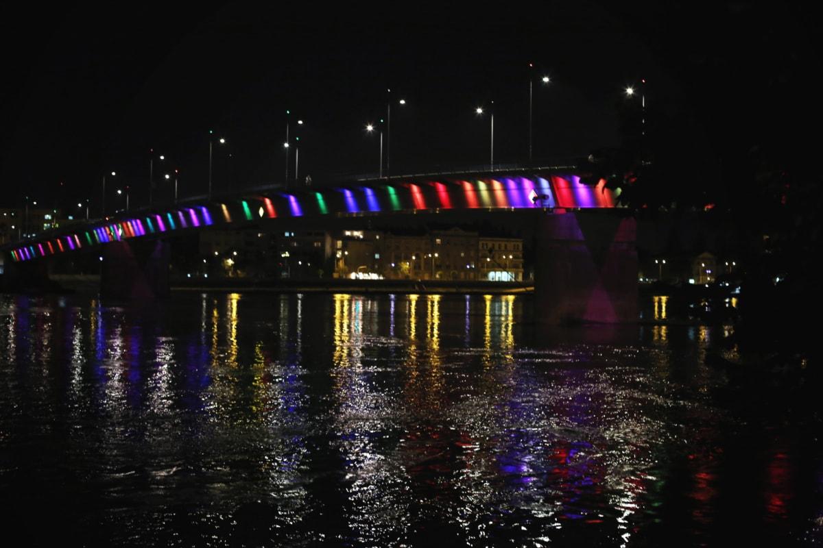 bridge, cityscape, colorful, downtown, light bulb, night, ripple, water, reflection, city