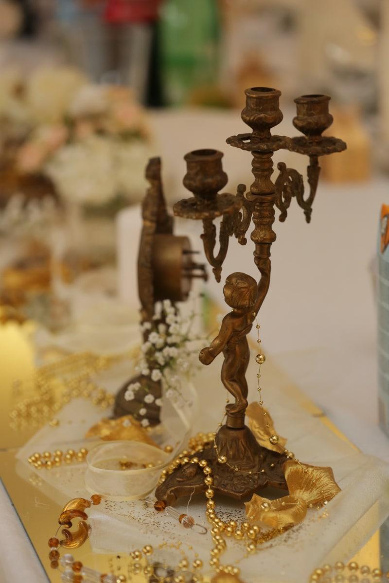 artwork, brass, candlestick, handmade, object, interior design, indoors, wedding, still life, luxury